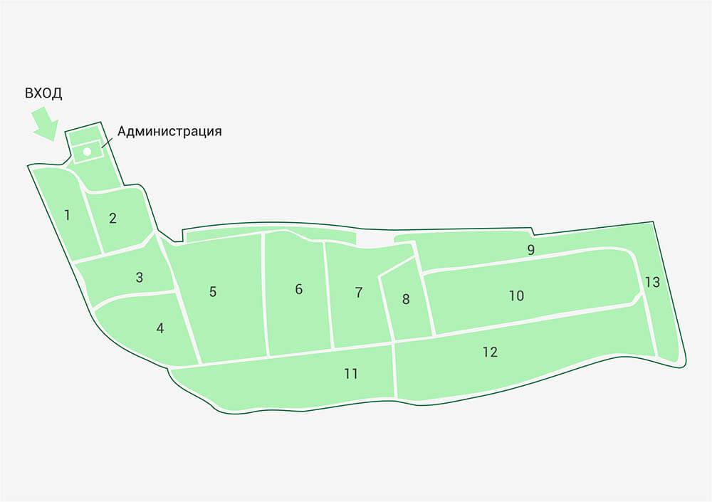 Новодеревенское кладбище (Балашиха) схема расположения участков